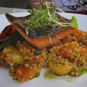 Roated salmon with Israeli Couscous